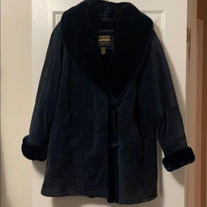 Venezia Leathers Faux Fur Blue Winter Coat (14/16)
